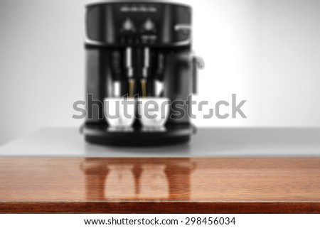 brown wooden top and coffee machine