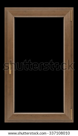 brown wooden window isolated on black background - stock photo