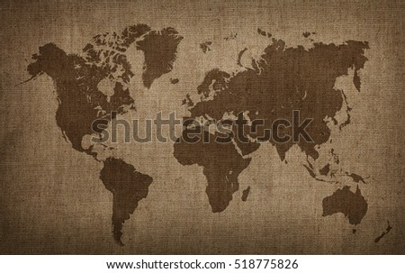 Brown world map on old vintage stock illustration 518775826 brown world map on old vintage darkened grunge flax linen fabric textile sackcloth bagging canvas with gumiabroncs Gallery