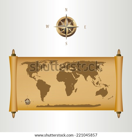 brown world map on papyrus with gold fill and a compass