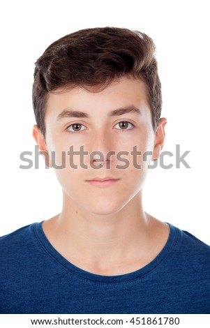 Brown young caucasian boy isolated on white background - stock photo