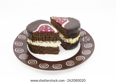 Brownie cake with cream cheese and chocolate icing - stock photo