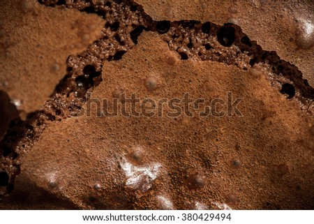 Brownie Surface. Fresh Baked from Oven. Homemade Bakery, Pastry and Dessert. Background, Wallpaper and Textures. Macro, Close up Selective. - stock photo