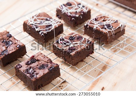 brownies isolated  on grid - stock photo