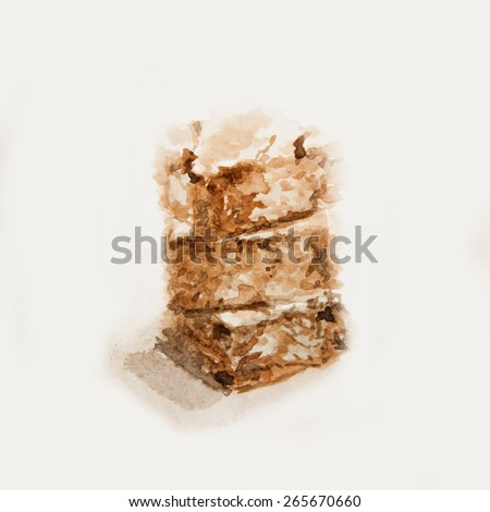 Brownies watercolor painting isolate on white background. - stock photo