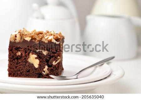 Brownies with chocolate and nuts on white background - stock photo