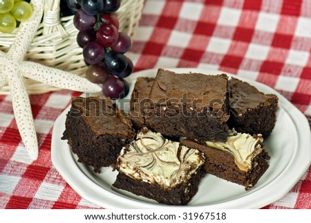 brownies with grapes in basket