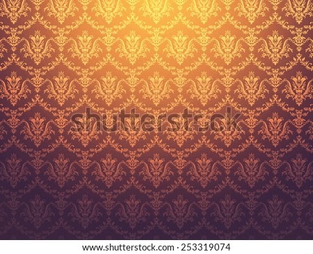 Brownish wallpaper with golden floral pattern - stock photo