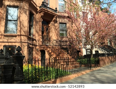 Brownstone Apartment Building On Berkeley Place Stock Photo ...