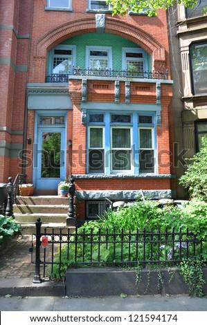 Brownstone Home Urban City Residential Neighborhood New York - stock photo