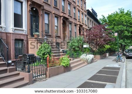 Brownstone Homes Urban Residential Neighborhood Brooklyn New York American Lifestyle - stock photo