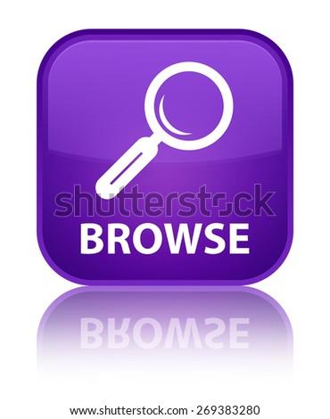 Browse purple square button - stock photo
