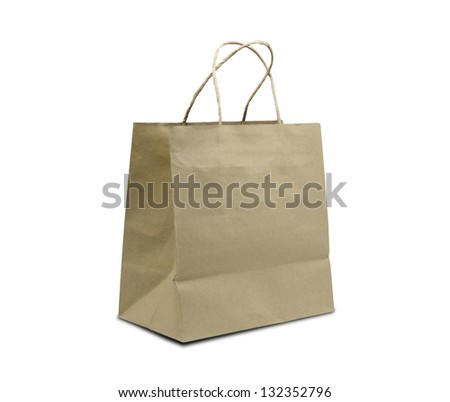 Browse recycled paper bag ,isolated on white background