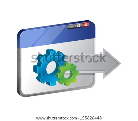 browser and industrial gear. illustration design over a white background - stock photo