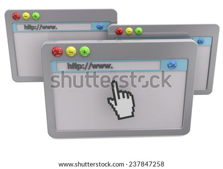 Browser Concept - 3D - stock photo