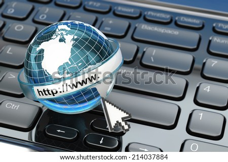 Browser. Internet concept.. Earth on laptop keyboard. 3d - stock photo