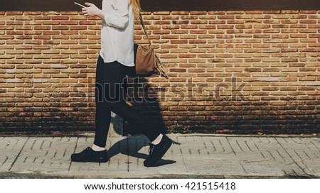 Browsing Social Media Walking Online Relax Concept - stock photo