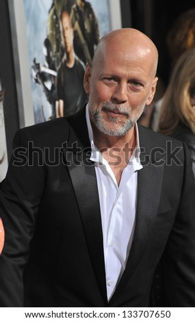 """Bruce Willis at the Los Angeles premiere of his movie """"G.I. Joe: Retaliation"""" at the Chinese Theatre, Hollywood. March 28, 2013  Los Angeles, CA Picture: Paul Smith - stock photo"""