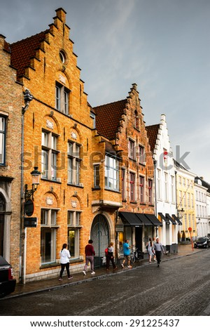 BRUGE, BELGIUM - JUN 5, 2015: Architecture of the Historic Centre of Bruges, Belgium. part of the UNESCO World Heritage site