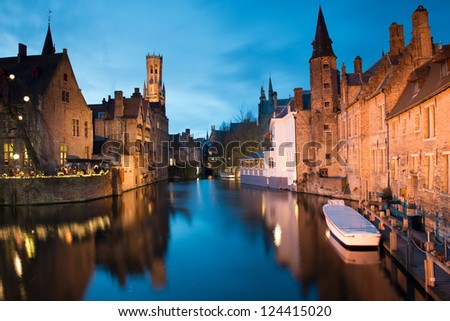 Bruges at night , Belgium. - stock photo