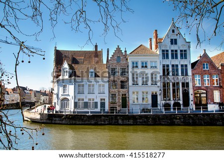 Canal Bruges Famous Belfry Tower On Stock Photo 597297134 ...