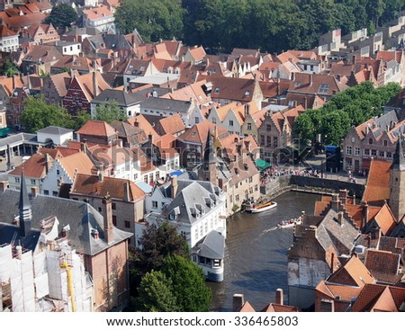 BRUGES, BELGIUM - AUG 23: Aerial view of Bruges in Belgium on August 23, 2013. Bruges is the capital and largest city of the province of West Flanders in the Flemish Region of Belgium.