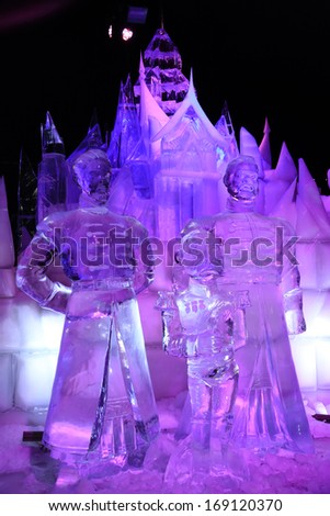 BRUGES, BELGIUM - CIRCA DECEMBER 2013: The Snow & Ice Sculpture Festival Bruges 2013 in December 2013. This year the exhibition is based on Disney's newest movie Frozen