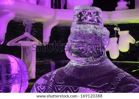 BRUGES, BELGIUM - CIRCA DECEMBER 2013: The Snow & Ice Sculpture Festival Bruges 2013 in December 2013. This year the exhibition is based on Disney's newest movie Frozen - stock photo