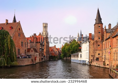BRUGES, BELGIUM - OCTOBER 04: Ancient Bruges (Brugge,Belgium) canal cityscape - Venice of the North and famous center of the European architecture and culture. Belgium on October 04, 2014