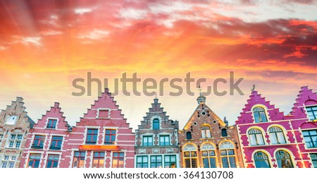 Bruges. Homes in Market Square. - stock photo