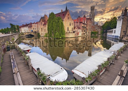 Bruges. Image of famous most photographed location in Bruges, Belgium during dramatic sunset. - stock photo