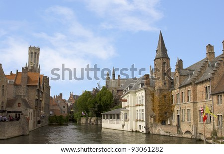 Bruges in Belgium in Summer time.