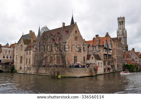 BRUGES - MAY 03: The main part of old town during a cloudy raining day in Bruges on May 03. 2015 in Belgium