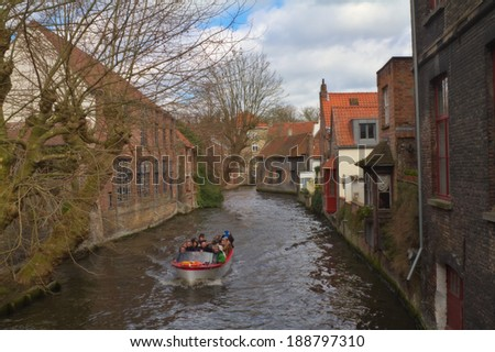 BRUGGE,BELGIUM-17 MARCH:Canal on March 17,2014 in Brugge.It's the capital city of the province of West Flanders in the Flemish Region of Belgium. It is located in the northwest of the country.