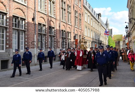 BRUGGE, BELGIUM - MAY 9, 2013: The Holy Blood Procession in Bruges, The Holy Blood Graal