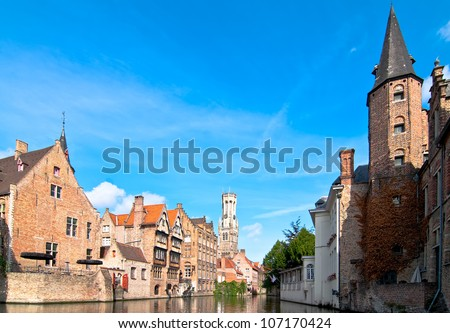 Brugge canal tour of the boat. Belgium. - stock photo