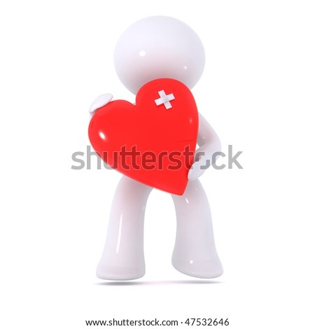 Bruised red heart - stock photo