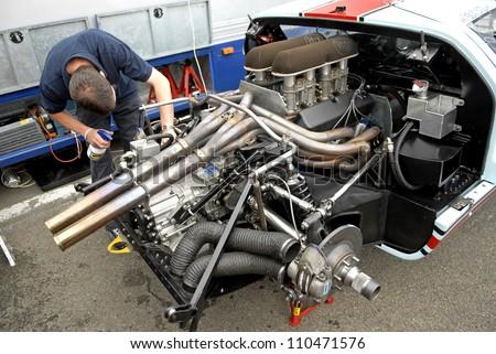 Brummen The Netherlands August  Vintage Ford Gt  Engine At