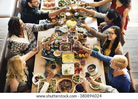 Brunch Choice Crowd Dining Food Options Eating Concept - stock photo