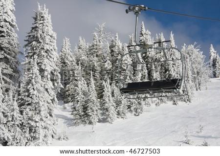 Brundage Mountain Ski lift, Idaho - stock photo