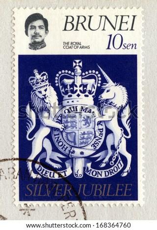 BRUNEI DARUSSALAM - CIRCA 1977: A stamp printed in Brunei Darussalam commemorating the Silver Jubilee of Queen Elizabeth II, circa 1977. - stock photo