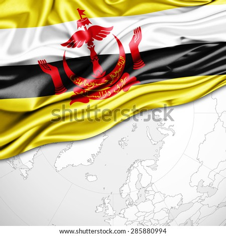 Brunei flag of silk and world map background - stock photo
