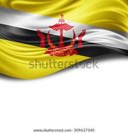 Brunei flag of silk with copyspace for your text or images and White background - stock photo
