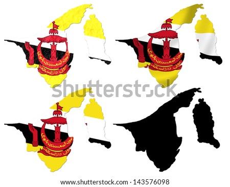 Brunei flag over map collage - stock photo