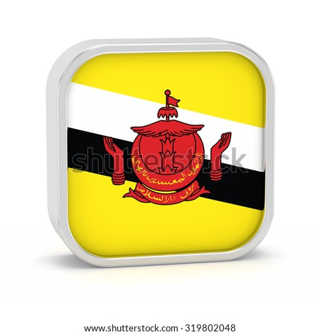 Brunei flag sign on a white background. Part of a series. - stock photo