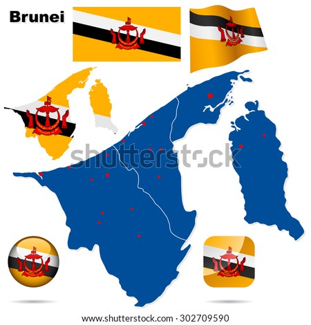 Brunei set. Detailed country shape, region borders, flags and icons isolated on white background.