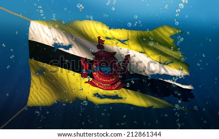 Brunei Under Water Sea Flag National Torn Bubble 3D - stock photo