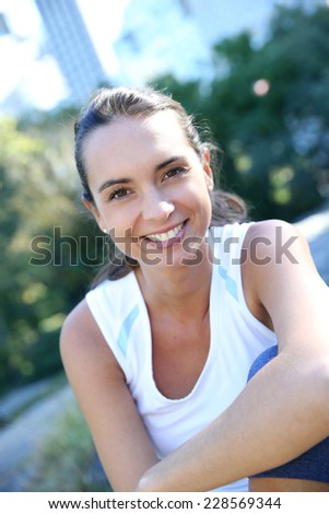 Brunette athletic girl relaxing in Central Parc