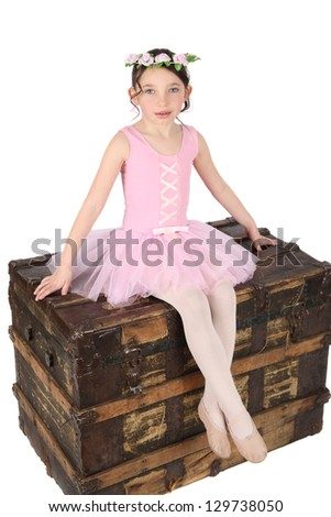 Brunette ballet girl against a white background wearing pink - stock photo