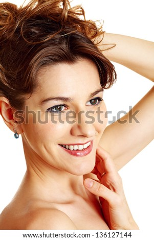 Brunette beautiful woman over white background